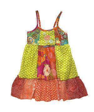 Another great find on #zulily! Yellow & Orange Summer Garden Patchwork Dress - Girls by Mimi & Maggie #zulilyfinds