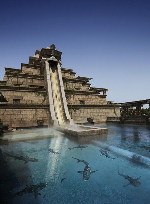 "the ""leap of faith"" at atlantis bahamas. 27.5m tall and 61m long, from the top of the ziggurat, the ""leap of faith"" catapults riders into a transparent tunnel and through a shark-filled lagoon."