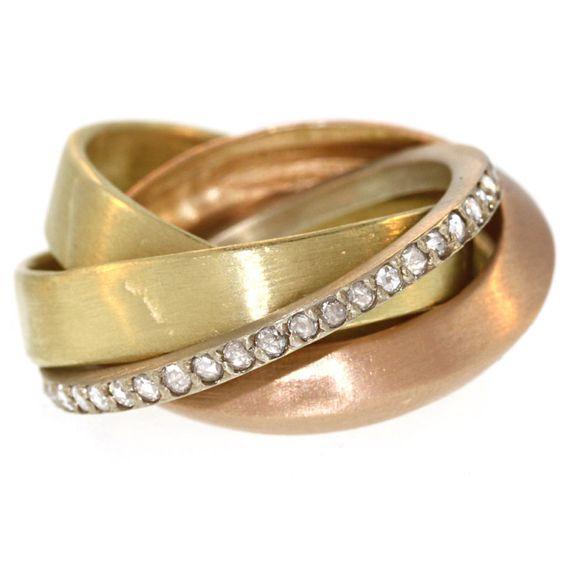 Multicolor Interlocking Ring with Diamonds | 1stdibs.com