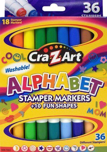 Cra-Z-art Double-Ended Stamper Markers, Alphabet and Shapes, 18-Count (10030-24) by Cra-Z-Art. $8.99. 18 Alphabet Stamper Markers with 10 Fun Stamper Marker Shapes to personalize your own messages. These Double Ended Stamper Markers give the child all 26 letters to learn the alphabet and create words. A fun and educational way to teach and create. There are also Markers with 10 different shapes like hearts, stars, smiles and more to make your drawings personal.