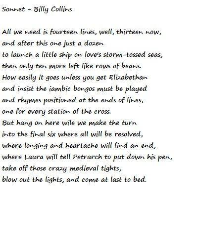 Billy collins sonnet essay questions