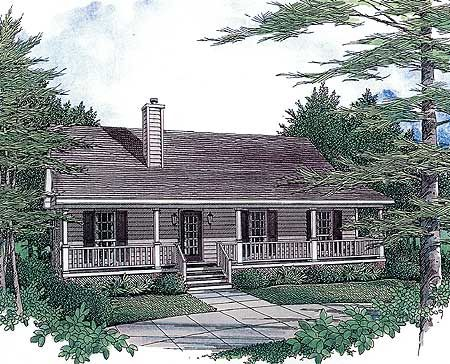 Plan 3435vl Starter Home With Two Covered Porches House