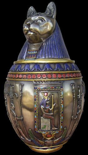 Egyptian Canopic Jar featuring Bastet - Bast - and Egyptian Art from 13 Moons!