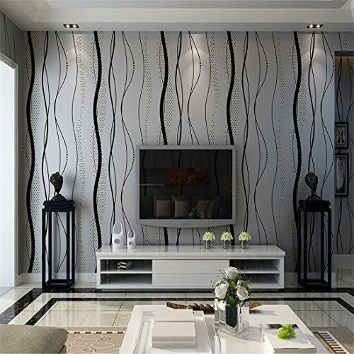 Living Room Wallpaper Grey Modern Simple Black Gray Natural Textured 3d Non Woven Wallpaper Roll Living Room Wallpaper Decor Home Wallpaper Striped Wallpaper
