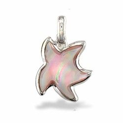Na Hoku: Sterling Silver Starfish Charm with Pink Mother of Pearl Inlay