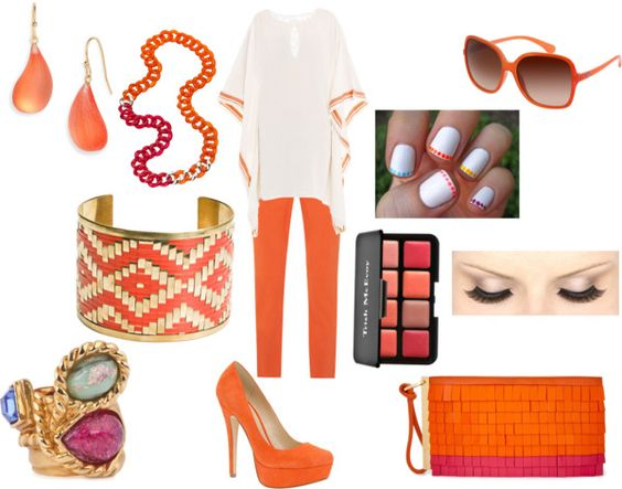 Orange with a Bit of Color Blocking, created by ljenious on Polyvore