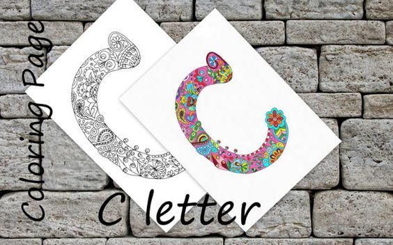 Letter ''C'' Download Coloring Page Hand Drawn Zentangle Inspired The Alphabet  Adult Coloring Page Art Relaxing Activity For Family