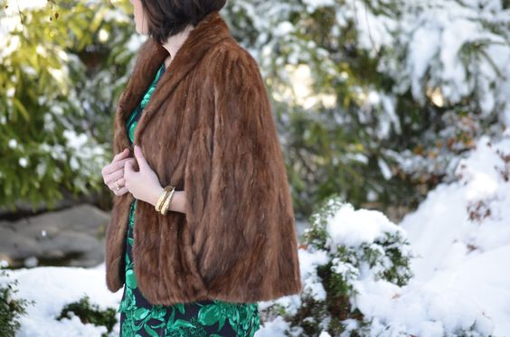 Vintage fur and Whiting and Davis snake cuff from The Brass Giraffe 2013/2014 Lookbook. -- #lookbook #vintage #fashion #holidayparty #christmas #winter #snow