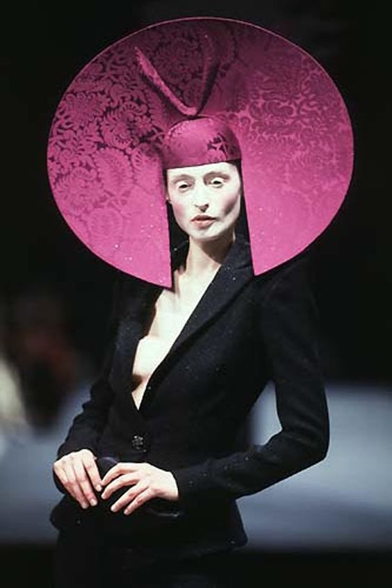 Philip Treacy Fall 1997, I think this is to keep her from scratching her self: