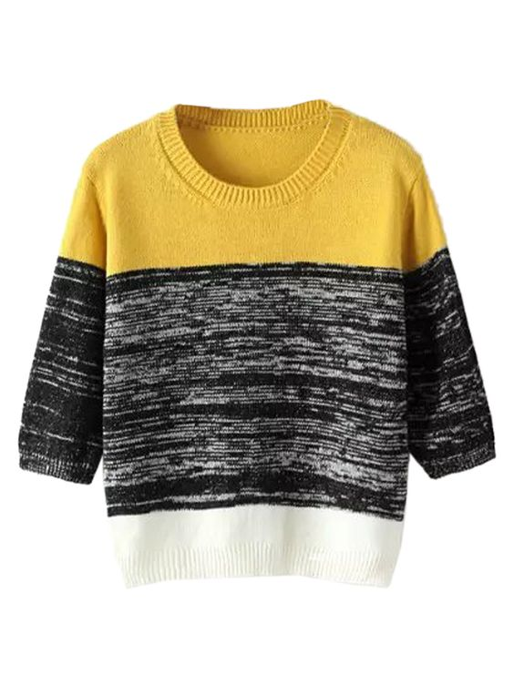 Color Block Half Sleeve Cropped Knit Sweater
