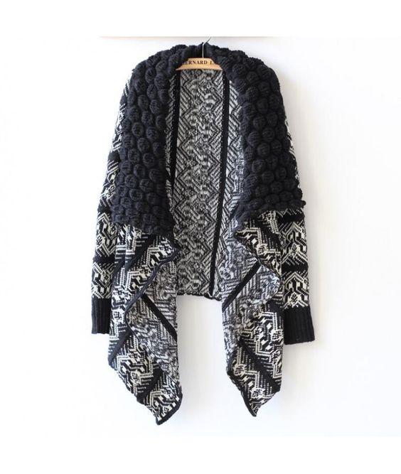 cardigan feminino estampa geométrica de lã
