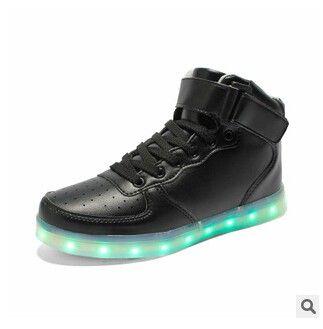 Zapatillas Con Luces LED Hombre Altos Negro