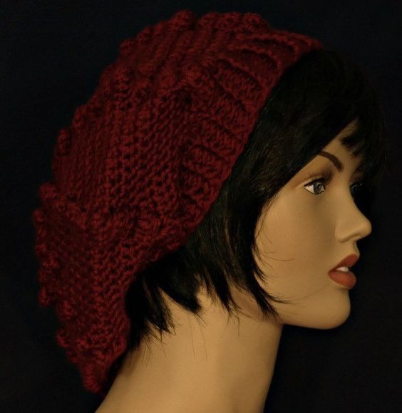 Crocheted slouch hat in autumn red by WearablesByAC   $28  free shipping