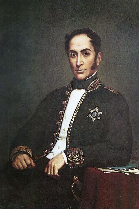 """Pintura titulada """"Bolívar Diplomático"""" realizada por la pintora cubana Rita de la Peñuela en 1860. Es una de las pinturas mas llamativas del Libertador, al punto que ha sido usada varias veces para figurar en los billetes venezolanos.:"""