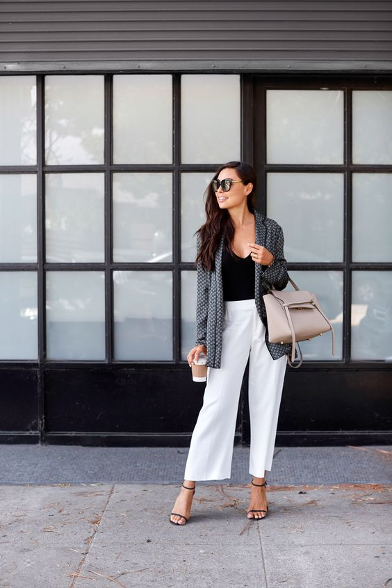 Silk Printed Smoking Jacket. Black bodysuit+white wide-leg jeans+black ankle strap heeled sandals+silk printed smoking blazer+beige handbag+sunglasses. Summer Workear/ Business Casual Outfit 2017