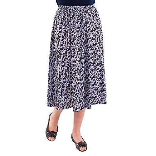 Fashion Friendly Ladies Casual Lilac Black Floral Skirt Sizes