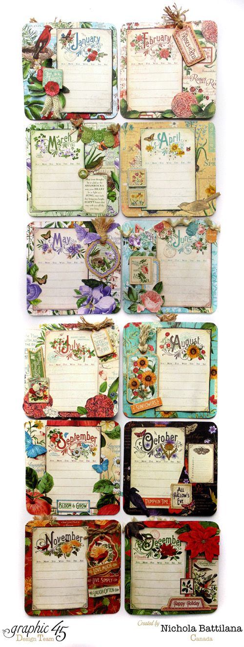 Handmade Calendar Tutorial : Nichola made all these calendar pages with the fronts and