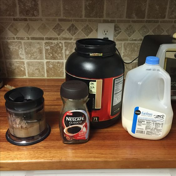 Mocha Frappuccino protein shake: 1 rounded scoop of Gold Standard whey protein powder Mocha Cappuccino flavored (120 calories), 1 cup of skim milk (90 calories), 1 tsp of instant coffee, and blend!