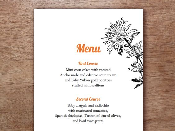 Affordable and easy to make #MenuTemplate. Just download, enter text, print and cut down the middle.