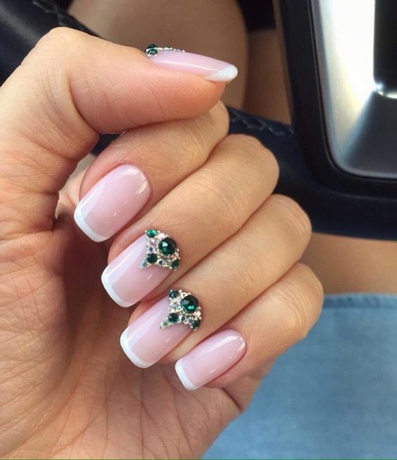 Christmas gel polish, Evening french manicure, Fall french nails, Fall nail ideas, Fall nails with rhinestones, Fashion autumn nails, French manicure, French manicure ideas: