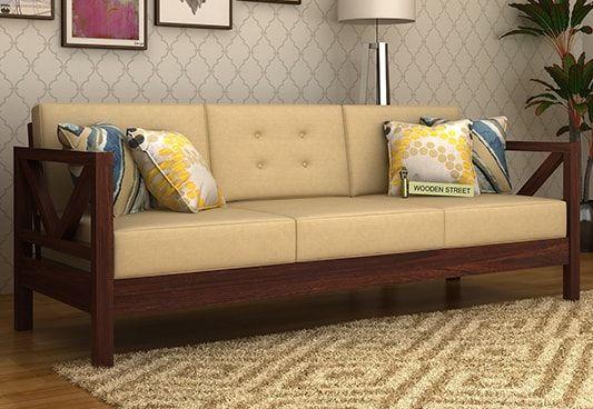 Veneker 3 Seater Wooden Sofa In Walnut Finish Is A Better Choice
