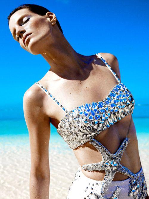 VERSACE and Iris Strubegger by Horst Diekgerdes for Harper's Bazar... luxury beach