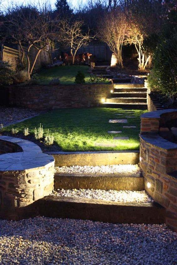 Beleuchtung garten ideen tipps stufen einbauleuchten kies for Garten rasen