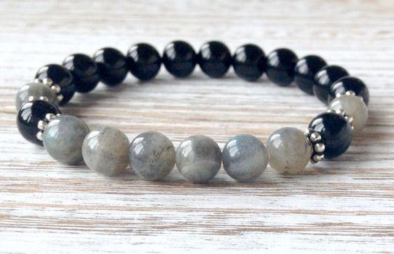 AA Grade Black Tourmaline & Labradorite Bracelet by SugarMalaLove