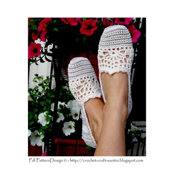 Lace and Stripe Slippers/Espadrilles Basic by PdfPatternDesign