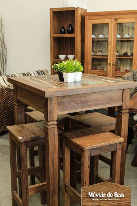 Mesa alta em madeira de demoli o for Mesas para restaurante usadas