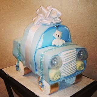 A car. | 31 Diaper Cake Ideas That Are Borderline Genius