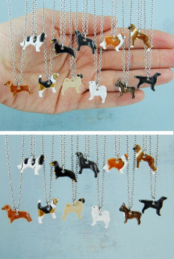 Mini Keramik Anhänger Halskette Pet Hundefreunde von DORCAceramics