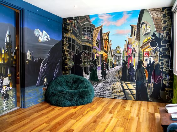 harry potter mural sacredart murals the most awesome murals omg do i want a room like this. Black Bedroom Furniture Sets. Home Design Ideas
