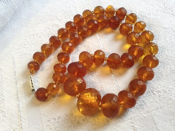 Victorian Faceted Genuine Honey Amber Bead Necklace. by GothiqueGirl on Etsy