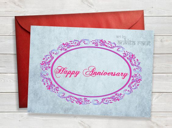 Printable Happy Anniversary Card, Wedding Anniversary Card - printable anniversary cards
