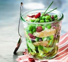 Making salad fun! Cranberry and Pea summer salad in a cute jar.
