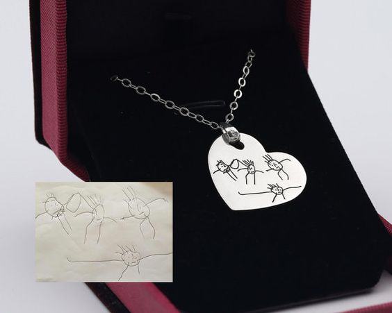 Kids Drawing Necklace Sterling Heart Necklace by weimeiOrnaments
