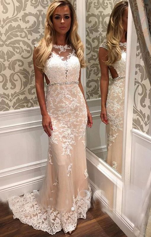 Champagne Prom Dress,Floor Length Prom Dress,Mermaid Evening Dress,Lace…: