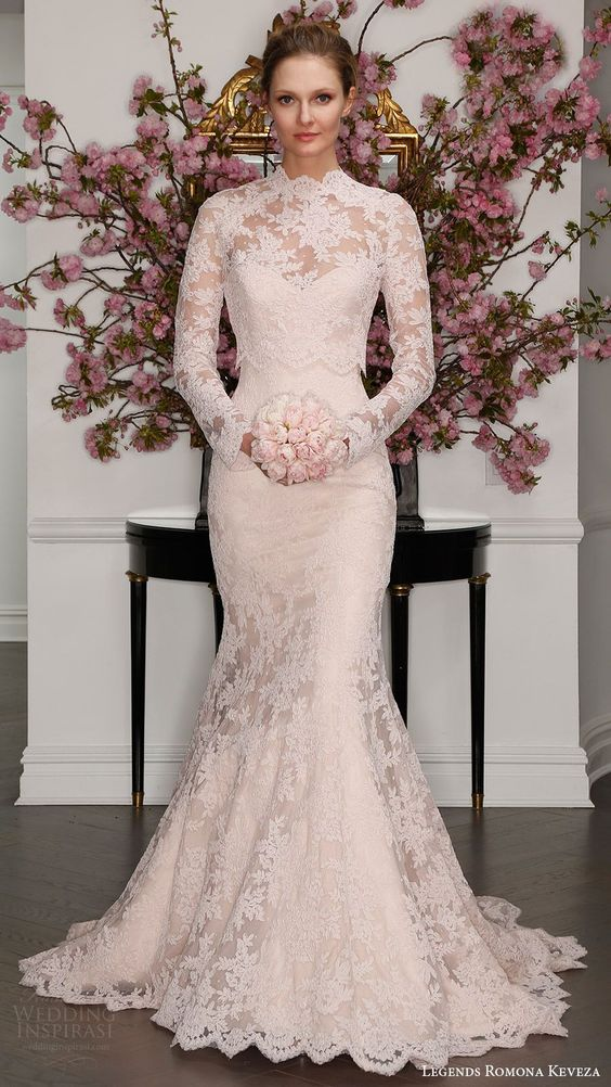 legends romona keveza bridal spring 2017 strapless sweetheart lace trumpet wedding dress (l7125) mv blush color illusion long sleeve high neck blouse: