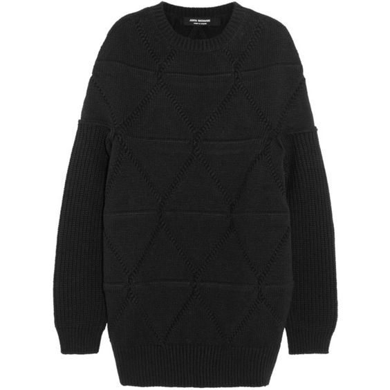 Junya Watanabe Origami-knit wool sweater (£340) ❤ liked on Polyvore featuring tops, sweaters, junya watanabe, black, woven top, oversized sweaters, print sweater, oversized tops and print top