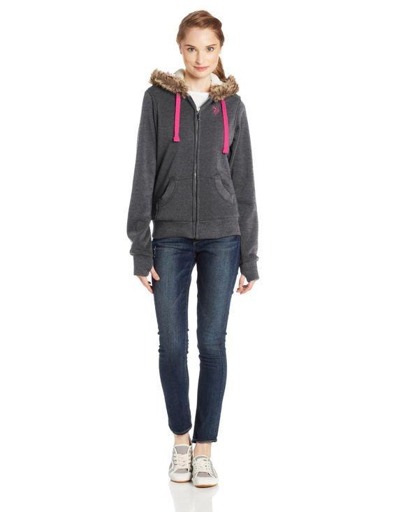 Women&39s Fleece Jacket with Hood and Sherpa Lining | Womens Fashion