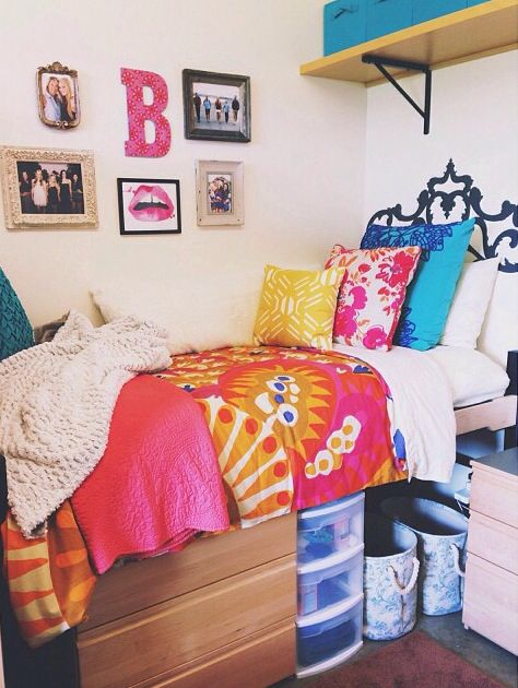 Wall decorations under bed and dorm on pinterest College dorm wall decor
