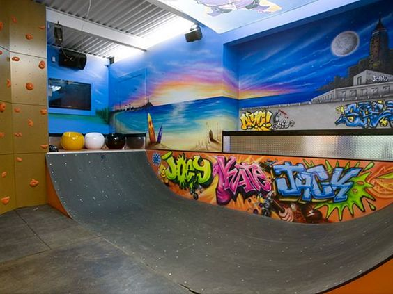 Skateboard ramp and rock climbing wall | Special room for special interests  | Rooms and More Rooms in Luxury Homes | Pinterest