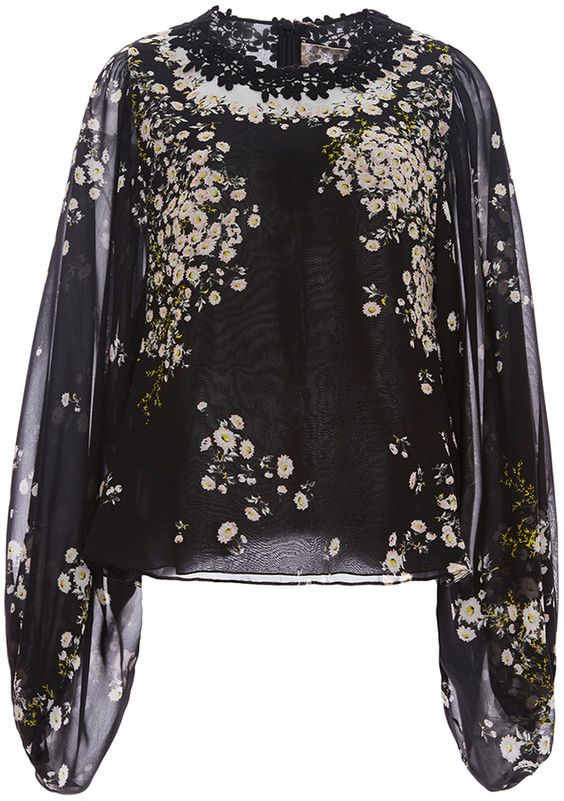 Giambattista Valli Silk Floral Georgette Blouse with Lace Detail
