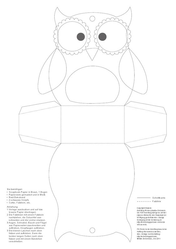 We will print these owl boxes ahead of time for the Harry Potter party.  Kids will color them and cut them out.  We will tape them so we don't have to wait for glue to dry.  They can put their candy and gringotts loot in them.