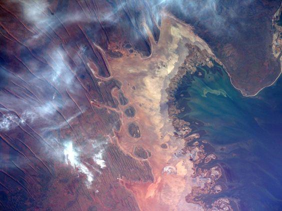 Le survol de la côte nord-ouest de l'Australie immortalisé par l'astronaute de la Nasa, Jeff Williams, à bord de la Station spatiale internationale