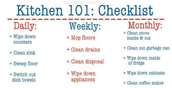 Kitchen 101: Checklist  Keep up with the blog this week to find more great tips and tricks to keeping your kitchen in tip top shape!