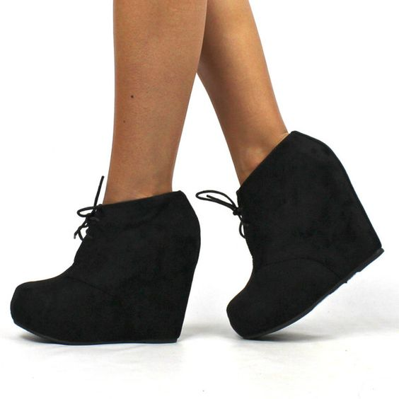 Jenny&quot Suede Lace Up Wedge Booties - Black | S H O E S | Pinterest