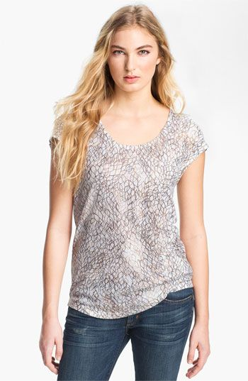 Trouvé Print Linen Blend Tee available at #Nordstrom