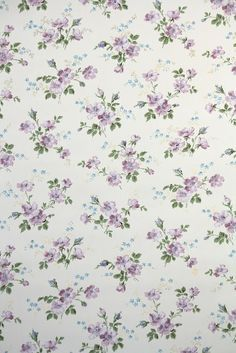 Pretty 1950s Purple Floral Vintage Wallpaper